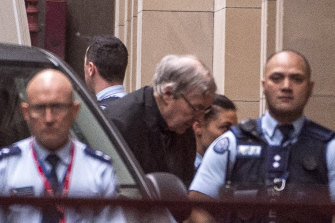 George Pell arriving at the Supreme Court on Wednesday morning.