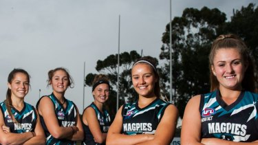 Maggie Gorham (centre) with teammates who qualified for the ACT/NSW Rams squad in 2016 - before she gave the game away. Photo: Elesa Kurtz