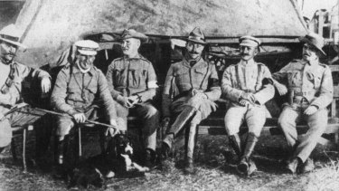 An undated photo shows  officers involved in the Breaker Morant case: left to right: Lieutenant Handcock, Lieutenant Morant, Surgeon Johnson, Captains Hunt, Taylor and Picton.
