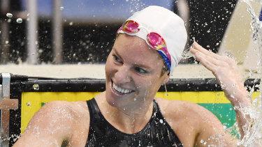 Emily Sebaum 以 58.59 秒获得第二名。
