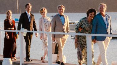 From left: Heather Mitchell, Richard E. Grant, Jacqueline McKenzie, Sam Neil, Greta Scacchi and Bryan Brown in Palm Beach.
