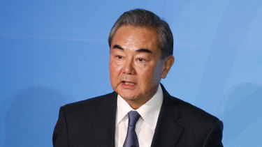 China's Foreign Minister Wang Yi addresses the Climate Action Summit at the UN headquarters, where he also met with Marise Payne.