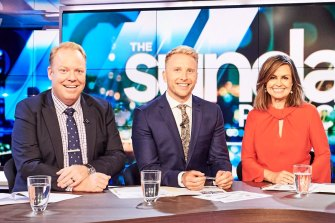 Peter Helliar, Hamish Macdonald and Lisa Wilkinson on The Project.