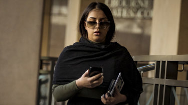 Jasmine Vella-Arpaci leaves the Melbourne Magistrates Court.
