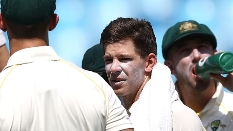 Australian captain Tim Paine (centre) looks on during day one of the first Test between Australia and Pakistan at Dubai International Stadium in the UAE.