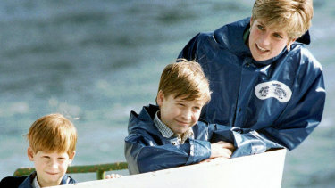 Princess Diana with her sons Harry and William in 1991.