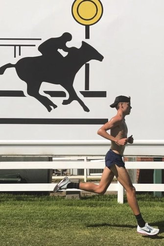McSweyn training at Caulfield Racecourse, which he does every Tuesday morning.