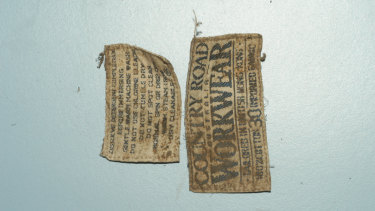Labels found on the clothing of remains at Ferny Creek.