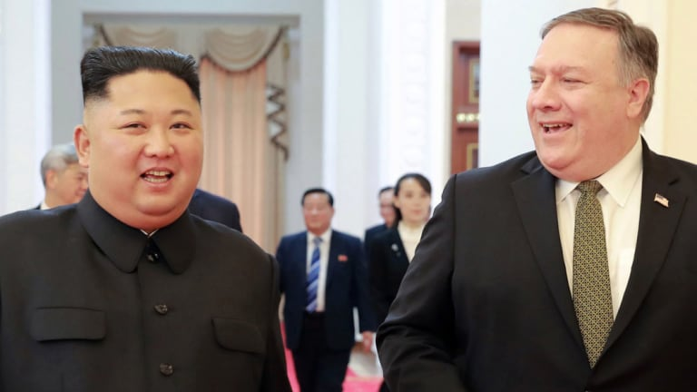 North Korean leader Kim Jong-un and US Secretary of State Mike Pompeo before their meeting in Pyongyang.