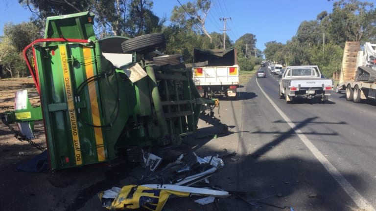 The truck reportedly hit a number of trees before rolling.