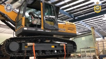 Three arrested after 300kg of 'ice' found inside excavator from Hong Kong