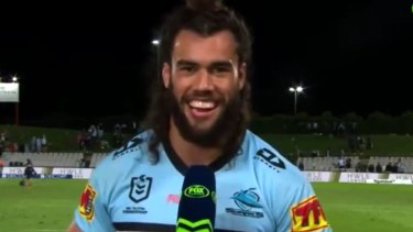 Toby Rudolf during his Fox Sports cross. He has been warned by the NRL for the contents of the interview.