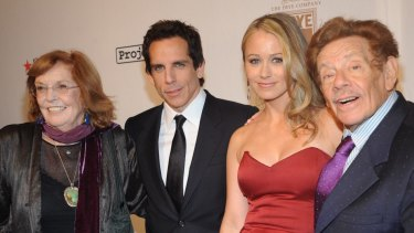 Anne Meara, Ben Stiller, Christine Taylor and Jerry Stiller at the Waldorf Astoria on October 7, 2008 in New York City.