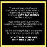 An alert posted on Revolver Upstairs' Facebook page in 2017 after a bad batch of ecstasy pills was linked to the death of five males.