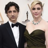 Partners Noah Baumbach, left, and Greta Gerwig arrive at the Oscars in February.