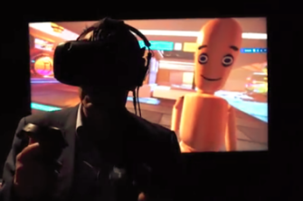 Virtual reality interview between London-based video artist Shaun Gladwell, with a wooden puppet as an avatar, and reporter Garry Maddox in Sydney.