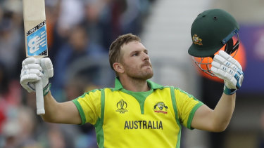 Aaron Finch enjoys the moment as he reached a century against Sri Lanka.