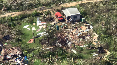 Damage caused by tropical cyclone Harold on Espiritu Santo Island, Vanuatu.