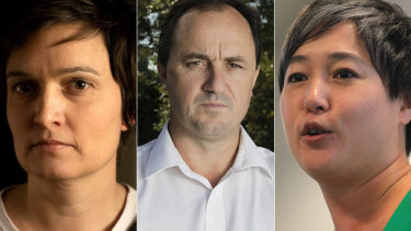 Ella Buckland, Jeremy Buckingham and Jenny Leong.