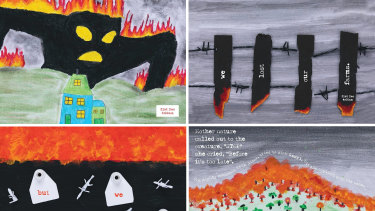 """Illustration from a bushfire book illustrated by the kids in the year 5 and 6 classes atCobargoPublic School named """"The Day She Stole the Sun"""". Image courtesy of Littlescribe.com"""