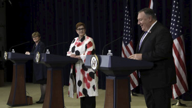 Defence Minister Linda Reynolds, Foreign Minister Marise Payne and US Secretary of State Mike Pompeo