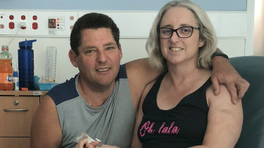 Justine Barwick with her husband, Craig, at the Royal Brisbane and Women's Hospital