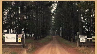 The gates of the Murrindindi property owned by Tom Zhou, a Crown Resorts junket operator.
