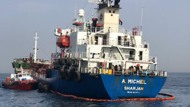 This photo provided by the United Arab Emirates' National Media Council shows the Emirati-flagged bunkering tanker A. Michel off the coast of Fujairah, United Arab Emirates.