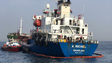 The damaged Emirati-flagged bunkering tanker A Michel off the coast of Fujairah, UAE.