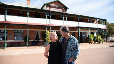 Carolyn Used, 53, and Laurie McKay, 60, moved to Nungarin three years ago to take over the Woolshed Hotel.
