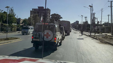 Vehicles of the International Committee of the Red Cross (ICRC) drive along a street during a mission to deliver medical assistance to the region's main hospital in Mekele, capital of the Tigray region, in Ethiopia, last month.