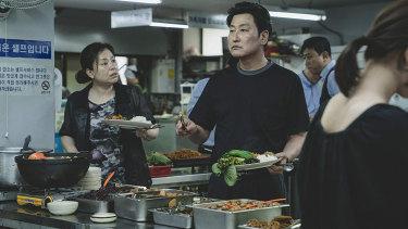 Jang Hye-jin and Song Kang-ho in Parasite.