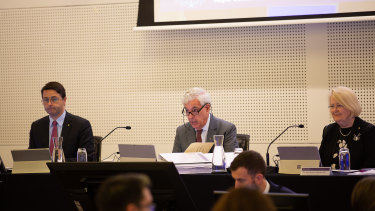 Disability Royal Commission Commissioners (L-R) Alastair McEwin AM, Ronald Sackville AO QC and Roslyn Atkinson AO.