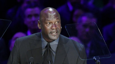 Michael Jordan, pictured here at a memorial for Kobe Bryant in February, has spoken out as protests engulf major US cities.