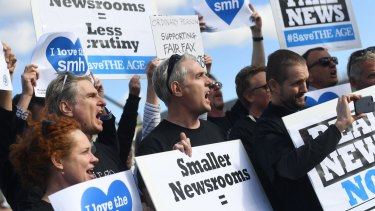 Striking Fairfax journalists outside Parliament House in Canberra in 2017