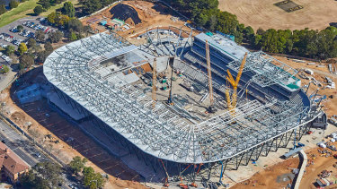 Empty arena: Western Sydney Stadium under construction, but its two intended home teams haven't even agreed to play there yet.