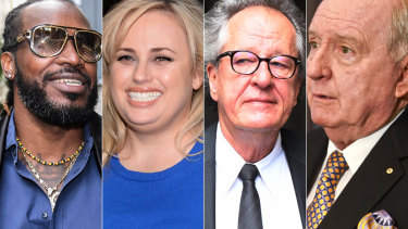 Chris Gayle, Rebel Wilson, Geoffrey Rush and Alan Jones.