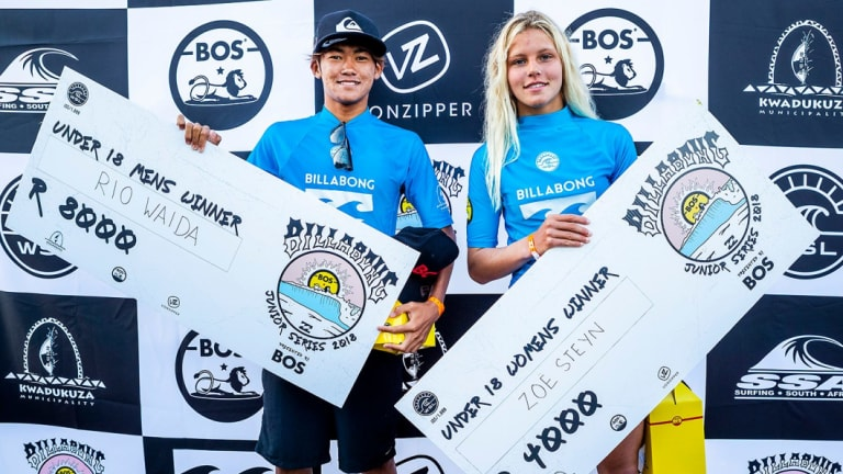 Same task, half the money ... the Billabong Junior Series Ballito Pro Junior winners, Rio Waida  of Indonesia and Zoe Steyn of South Africa.