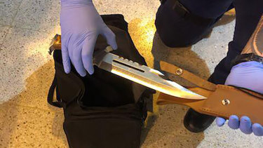 A photo of the knife which was seized by police.