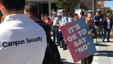 A rally at Sydney University against same-sex marriage draws hundreds of counter-protesters.