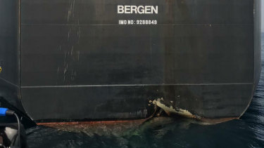 The damaged Norwegian-flagged oil tanker MT Andrea Victory off the coast of Fujairah, UAE, last month.