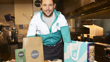Hungry for action: David Klemmer, who has partnered with Deliveroo to launch the 'Klemmer Burger', available over grand final weekend.