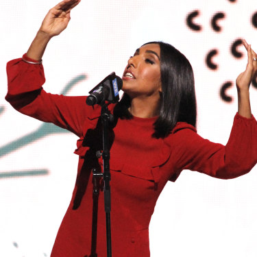 Canadian Rupi Kaur, dubbed the 'queen of Instapoets', performing in Toronto.