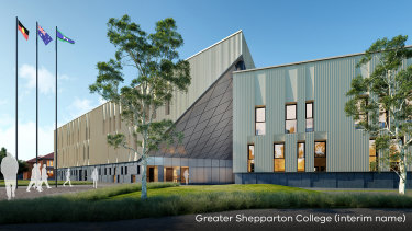 Artist's impression of Shepparton's planned super school, to open in 2022. It will house up to 3000 students.