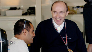 Sir Frank Williams with driver Juan Pablo Montoya in 2004.