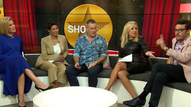 Narelda Jacobs, second from left on the Studio 10 couch