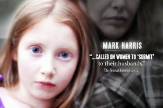 "A still from the Democrat ""attack"" ad on Mark Harris."