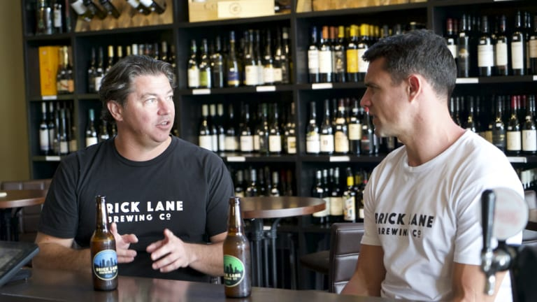 Paul Bowker with one of Brick Lane Brewing's co-founder's, former All Black Dan Carter.