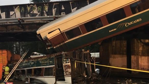 'People were screaming': Train derails over road bridge in Washington state