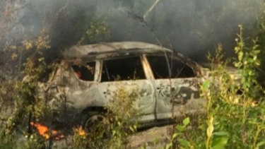 The burnt-out Toyota driven by 19-year-old Kam McLeod and 18-year-old Bryer Schmegelsky.